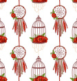Seamless pattern with dream cathers poppies in vector image