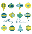 Set of Vintage Christmas Tree Balls vector image vector image