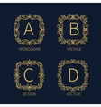 Set outline monograms frame vector image vector image