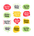 set round green labels with text gluten free vector image vector image