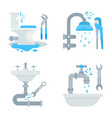 set tools for plumbings vector image vector image
