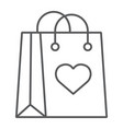 shopping bag with heart thin line icon love vector image vector image