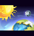 solar system sun earth moon in space astronomy vector image vector image
