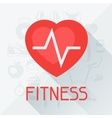 Sports background with fitness icons in flat style vector image