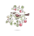Spring floral vintage card with a branch of vector image