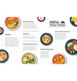 thai food menu restaurant on a white wooden table vector image vector image