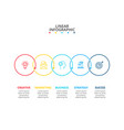 thin line flat circles for infographic with 5 vector image vector image