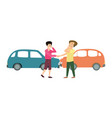 two smiling men with two cars accident cartoon vector image vector image
