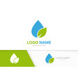 water drop and leaf logo combination vector image