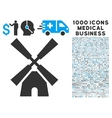 Wind Mill Icon with 1000 Medical Business Symbols vector image vector image
