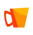 yellow cup with coffee lil tea mug for hot drink vector image