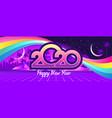 2020 retro wave calendar vector image vector image