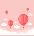 balloon in the sky with clouds pink color flat vector image
