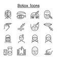 botox anti aging icon set in thin line style vector image