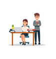 businesswoman sitting at the desk working on vector image vector image