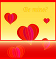 card with text be mine with flying hearts vector image vector image