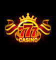 casino banner with 777 and awards ribbon vector image vector image