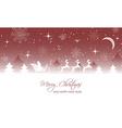 Christmas landscape santa on sleigh with reindeer vector image