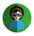circular frame of man with headset stereo vector image
