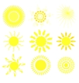 Collection of suns vector image vector image