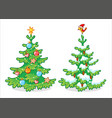 collection two christmas trees on a white vector image