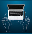 computer with hands out chalk vector image vector image