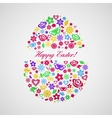 Easter egg consisting of multicolored flowers vector image vector image
