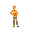 fireman character in uniform and protective helmet vector image vector image