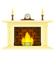 fireplace with clock and candles isolated vector image vector image