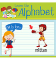 Flashcard alphabet M is for mitten vector image vector image