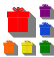 gift sign set of red orange yellow green blue vector image vector image