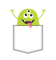 green monster silhouette in the pocket hands up vector image