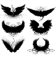 grunge wing silhouette vector image vector image