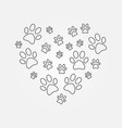 heart with dog paw prints outline vector image vector image