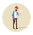 hipster character making selfie vector image