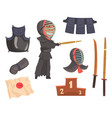 japanese kendo sword martial arts fighter armor vector image vector image