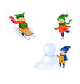 kids having fun outdoors in winter set vector image