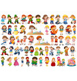 kids in large group acting our varoous roles vector image vector image