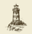 lighthouse on seashore sketch seascape vintage vector image