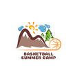 logo basketball summar camp fun cartoon logo vector image vector image
