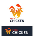 logo for fried chicken cafe - hot rooster vector image