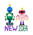 male and female robots - new vector image