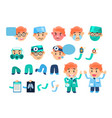 male doctor animated character set various face vector image
