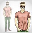 man with skull with sunglasses and vector image vector image