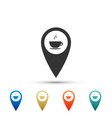 map pointer with hot coffee cup icon isolated vector image