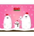 Merry Christmas white polar bear family vector image