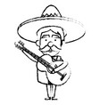 mexican mariachi with guitar avatar character vector image vector image