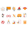orange education icons set vector image