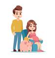 pregnant woman man and piggy bank saving money vector image vector image
