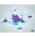 Puzzle fish on the waves in the ocean vector image